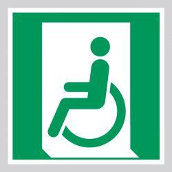 Autocollant Panneau D'évacuation sortie de secours handicapé - Gauche - ISO7010 - E026