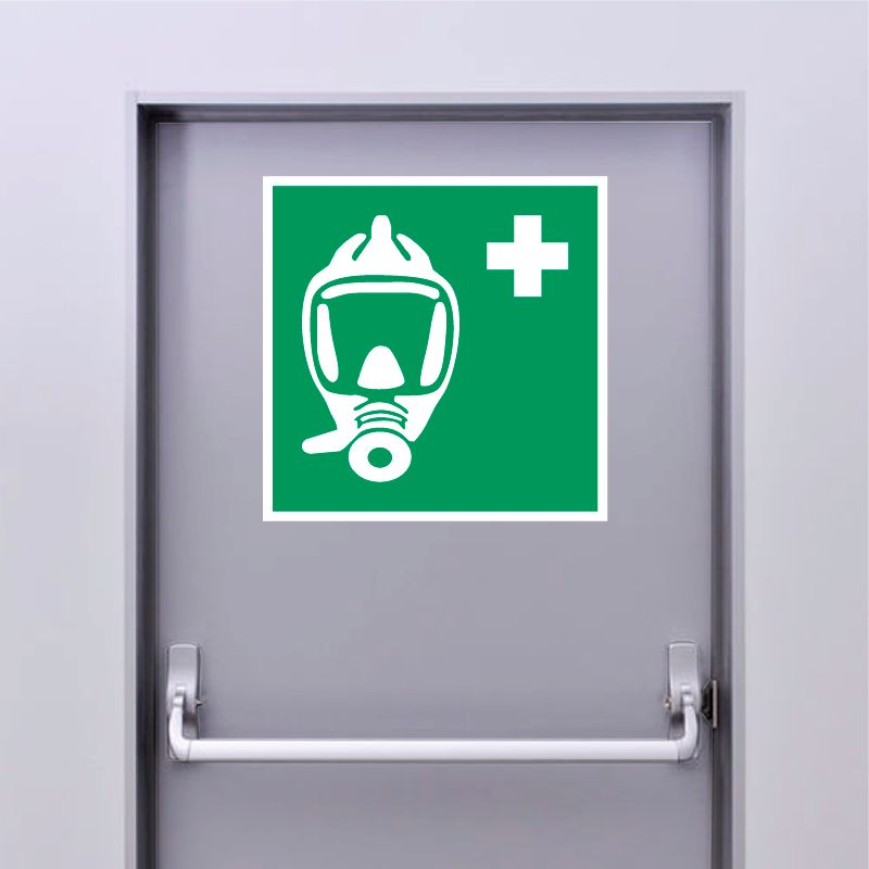 Autocollant Panneau Appareil respiratoire pour l'évacuation d'urgence - ISO7010 - E029