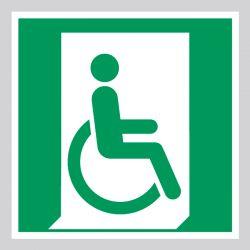 Autocollant Panneau D'évacuation sortie de secours handicapé - Droite - ISO7010 - E030