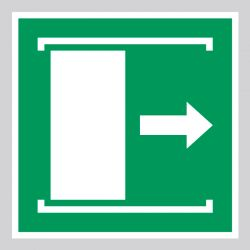 Autocollant Panneau Faire coulisser la porte vers la droite pour ouvrir - ISO7010 - E033