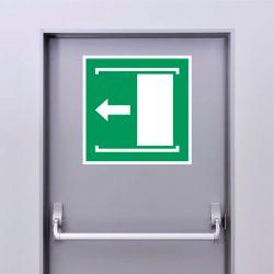 Autocollant Panneau Faire coulisser la porte vers la gauche pour ouvrir - ISO7010 - E034