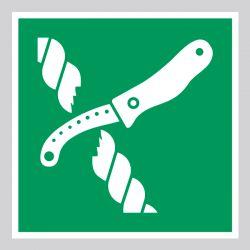 Autocollant Panneau Couteau de radeau de sauvetage - ISO7010 - E035