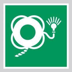 Autocollant Panneau Bouée de sauvetage avec ligne et lumière - ISO7010 - E043