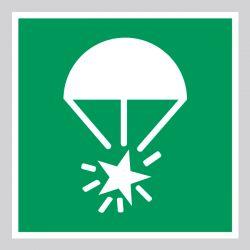 Autocollant Panneau Fusée éclairante à parachute - ISO7010 - E049