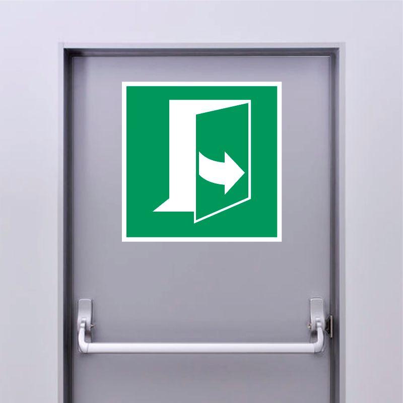 Autocollant Panneau Ouverture de porte en tirant sur le côté gauche - ISO7010 - E057