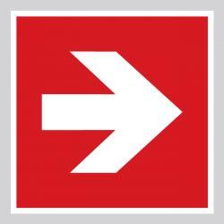 Autocollant Panneau Flèche de direction 90° Évacuation incendie - ISO7010 - A090R