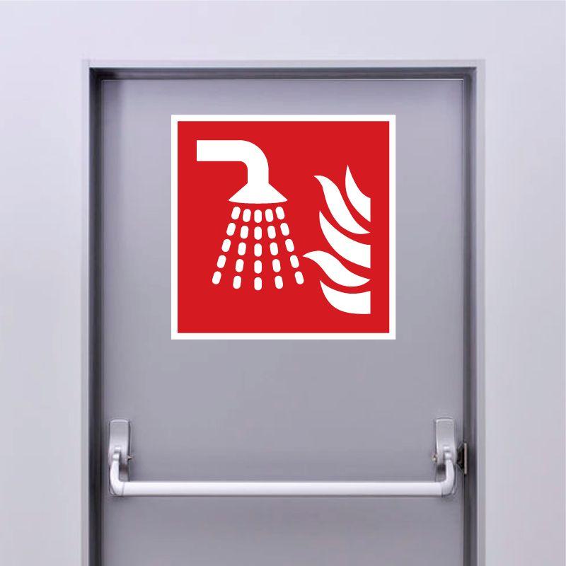 Autocollant Panneau Système d'extinction d'incendie par brouillard d'eau - ISO7010 - F011