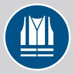 Autocollant Panneau Gilet de sécurité haute visibilité obligatoire - ISO7010 - M015