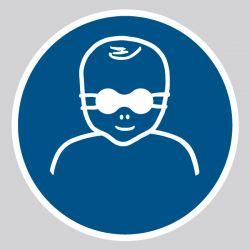 Autocollant Panneau Protection opaque des yeux obligatoire pour les enfants en bas âge - ISO7010 - M025