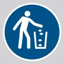 Autocollant Panneau Utiliser la poubelle - ISO7010 - M030