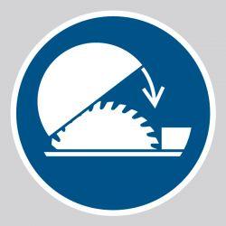 Autocollant Panneau Utiliser la protection réglable de la scie circulaire sur table - ISO7010 - M031
