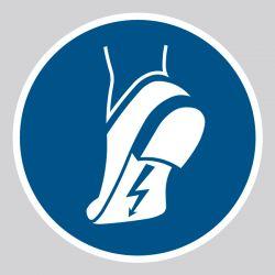 Autocollant Panneau Chaussures antistatiques obligatoires - ISO7010 - M032