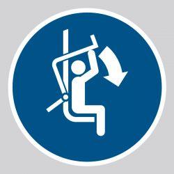 Autocollant Panneau Fermer la barre de sécurité du télésiège - ISO7010 - M033