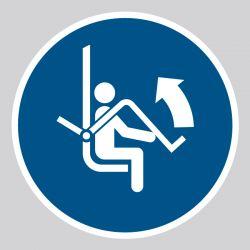 Autocollant Panneau Ouvrir la barre de sécurité du télésiège - ISO7010 - M034