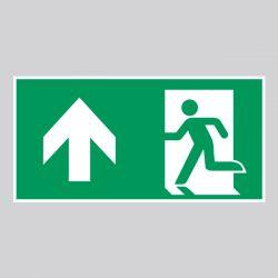 Autocollant Panneau Sortie de secours gauche - Flèche Haut - ISO7010 - A0/E001