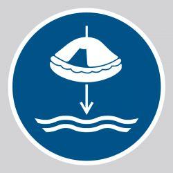 Autocollant Panneau Abaisser le radeau de survie à l'eau dans l'ordre de lancement - ISO7010 - M040