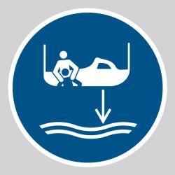 Autocollant Panneau Abaisser le canot de sauvetage à l'eau dans l'ordre de lancement - ISO7010 - M041