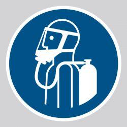 Autocollant Panneau Utiliser l'appareil respiratoire autonome - ISO7010 - M047