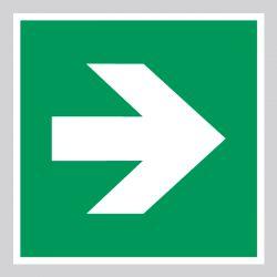 Autocollant Panneau Flèche de direction 90° Évacuation Secours - ISO7010 - A090