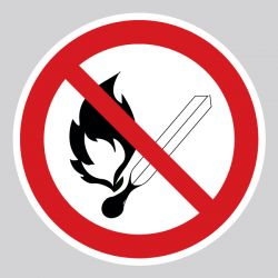Autocollant Panneau flammes nues interdites - feu et source d'allumage non protégée interdits - ISO7010 - P003