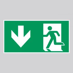 Autocollant Panneau Sortie de secours gauche - Flèche Bas - ISO7010 - A180/E001