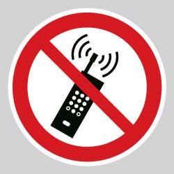 Autocollant Panneau interdiction d'utilisation téléphone portables - ISO7010 - P013