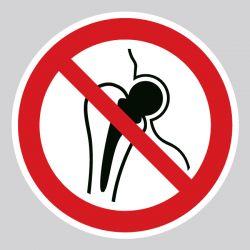 Autocollant Panneau entrée interdite aux personnes porteuses d'un implant métallique - ISO7010 - P014