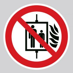 Autocollant Panneau interdiction d'utiliser l'ascenseur en cas d'incendie - ISO7010 - P020