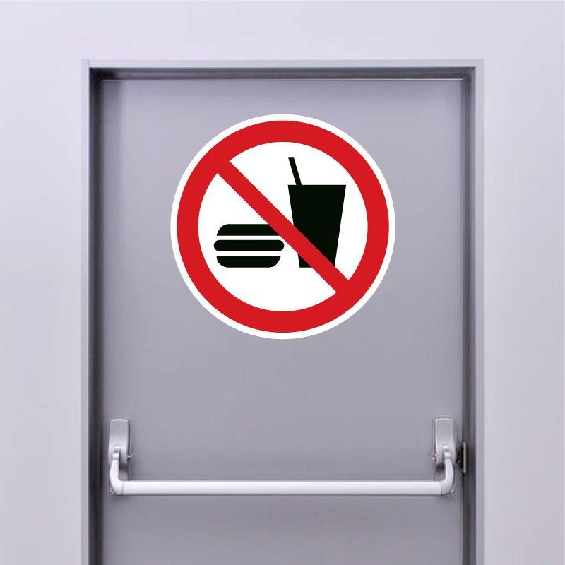 Autocollant Panneau interdiction de boire ou de manger - ISO7010 - P022
