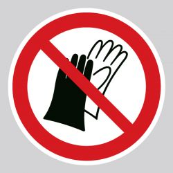 Autocollant Panneau port de gants interdit - ISO7010 - P028