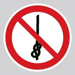 Autocollant Panneau ne pas faire des noeuds avec la corde - ISO7010 - P030