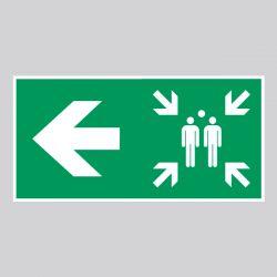 Autocollant Panneau Direction Gauche point de rassemblement - Flèche 90° - ISO7010 - A270/E007