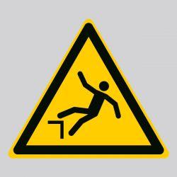Autocollant Panneau danger chute avec dénivellation - ISO7010 - W008