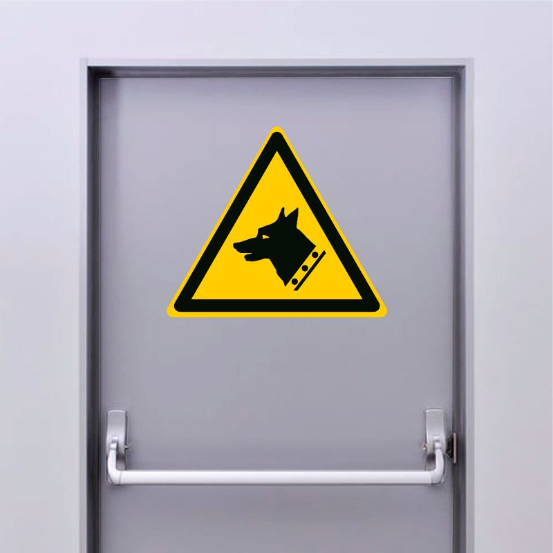 Autocollant Panneau danger chien de garde - ISO7010 - W013