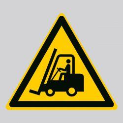 Autocollant Panneau danger chariots élévateurs et autres véhicules industriels - ISO7010 - W014