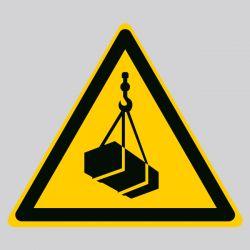 Autocollant Panneau danger charges suspendues - ISO7010 - W015