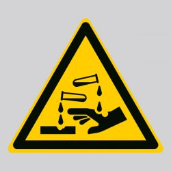 Autocollant Panneau danger substances corrosives - ISO7010 - W023