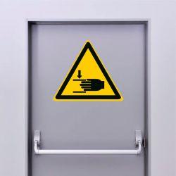 Autocollant Panneau danger écrasement des mains - ISO7010 - W024