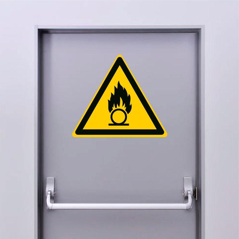 Autocollant Panneau danger substances comburantes - ISO7010 - W028