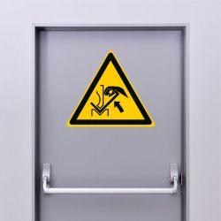 Autocollant Panneau danger écrasement de la main entre une presse plieuse et le matériau - ISO7010 - W031