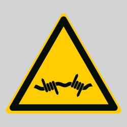 Autocollant Panneau danger fil barbelé - ISO7010 - W033