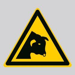 Autocollant Panneau danger taureau - ISO7010 - W034