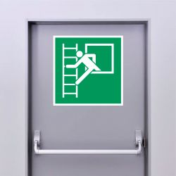 Autocollant Panneau Fenêtre de secours avec échelle de secours - Gauche - ISO7010 - E016