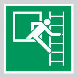 Autocollant Panneau Fenêtre de secours avec échelle de secours - Droite - ISO7010 - E016B