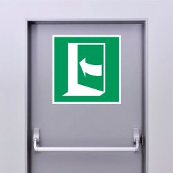 Autocollant Panneau Porte qui s'ouvre en poussant sur son côté gauche - ISO7010 - E022